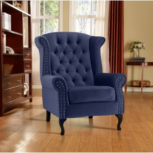 Velvet Wing Back Fireside Chair / Armchair with Buttons Blue