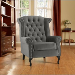 Velvet Wing Back Fireside Chair / Armchair with Buttons Grey