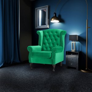 Velvet Wing Back Fireside Chair / Armchair with Buttons Bright Green