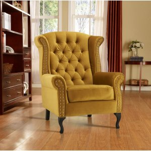 Velvet Wing Back Fireside Chair / Armchair with Buttons Mustard Gold