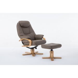 Faux Leather Light Brown Pisa Swivel Recliner Chair and Footstool