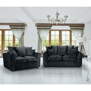 Crushed Velvet Black 3+2 Jessica Sofa Set With Scatter Cushions