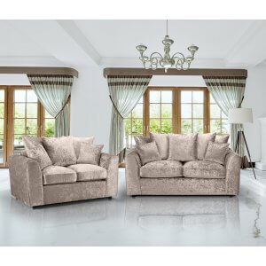 Crushed Velvet Mink 3+2 Jessica Sofa Set With Scatter Cushions