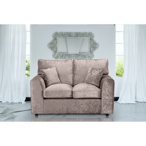 Crushed Velvet Mink 2 Seater Jessica Sofa With High Back