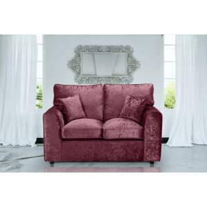 Crushed Velvet Mulberry 2 Seater Jessica Sofa With High Back