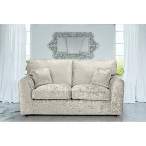 Crushed Velvet Cream 3 Seater Jessica Sofa With High Back