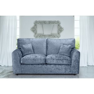 Crushed Velvet Denim Blue 3 Seater Jessica Sofa With High Back