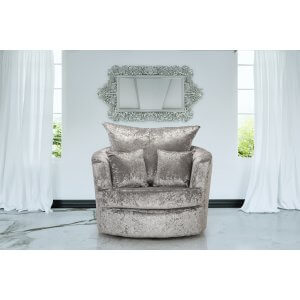 Crushed Velvet Silver Wandsworth Cuddle Chair