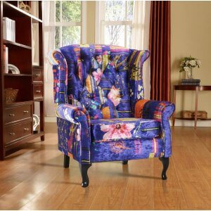 Fabric Blue Patchwork Chesterfield Avici Scroll Wingback Chair