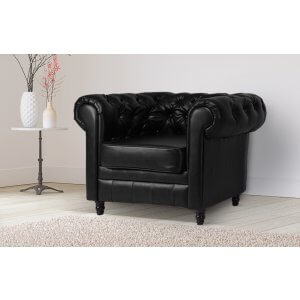 Leather Chesterfield Black 1 Seater Churchill Sofa Suite