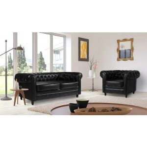 Leather Chesterfield Black 3 + 1 Churchill Sofa Suite
