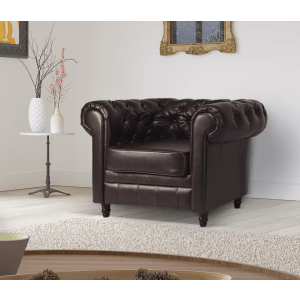 Leather Chesterfield Brown 1 Seater Churchill Sofa Suite