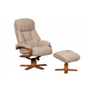 Fabric Cream Nice Swivel Recliner Chair and Footstool