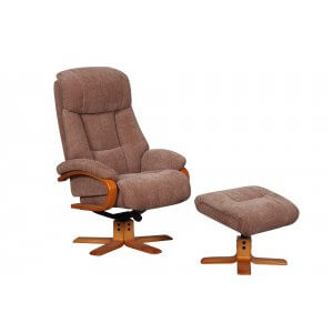 Fabric Brown Nice Swivel Recliner Chair and Footstool