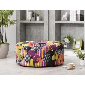 Patchwork Fabric Avici Large Round Ottoman