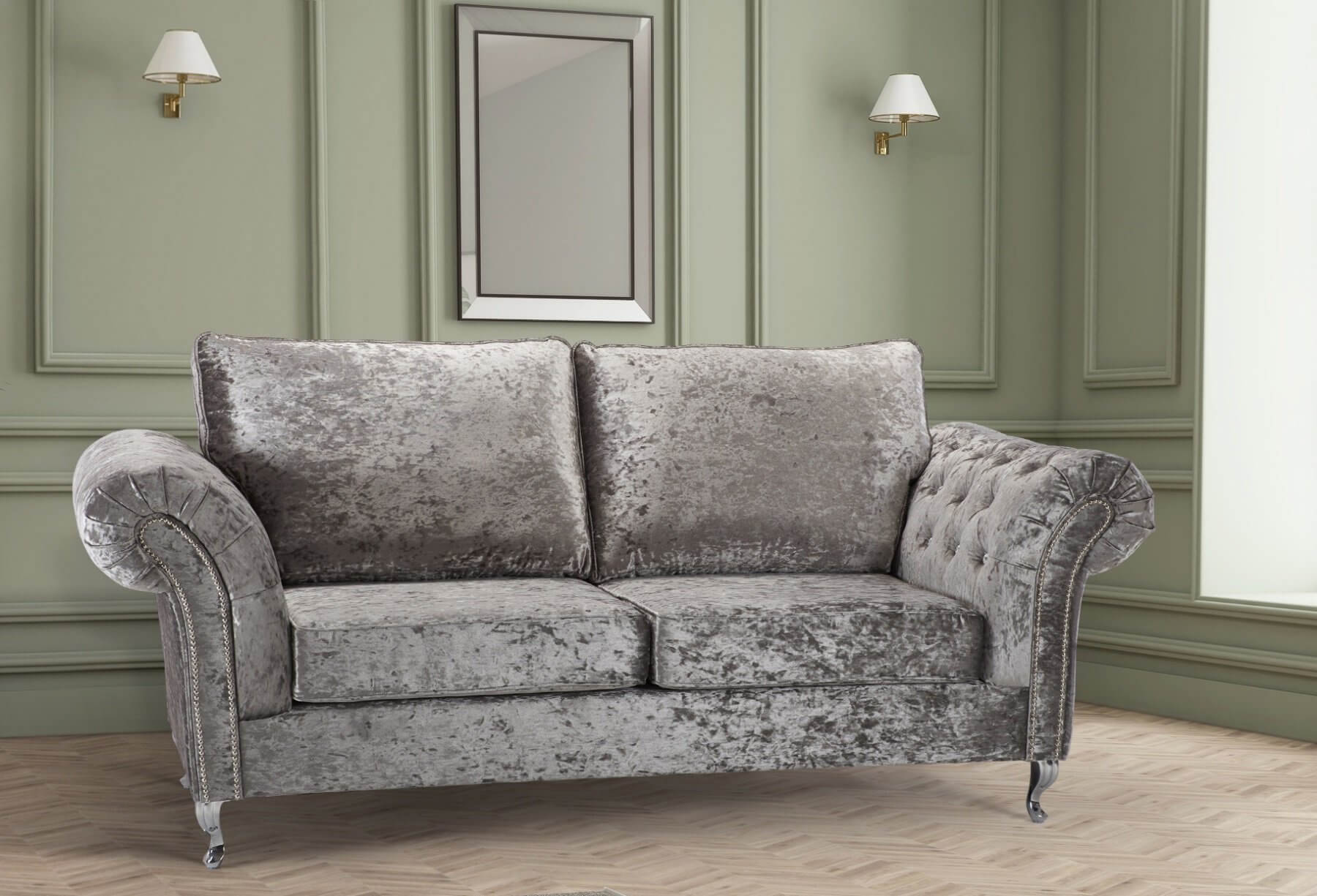 Silver Crushed Velvet 3 Seater Wilmslow Diamante Sofa With