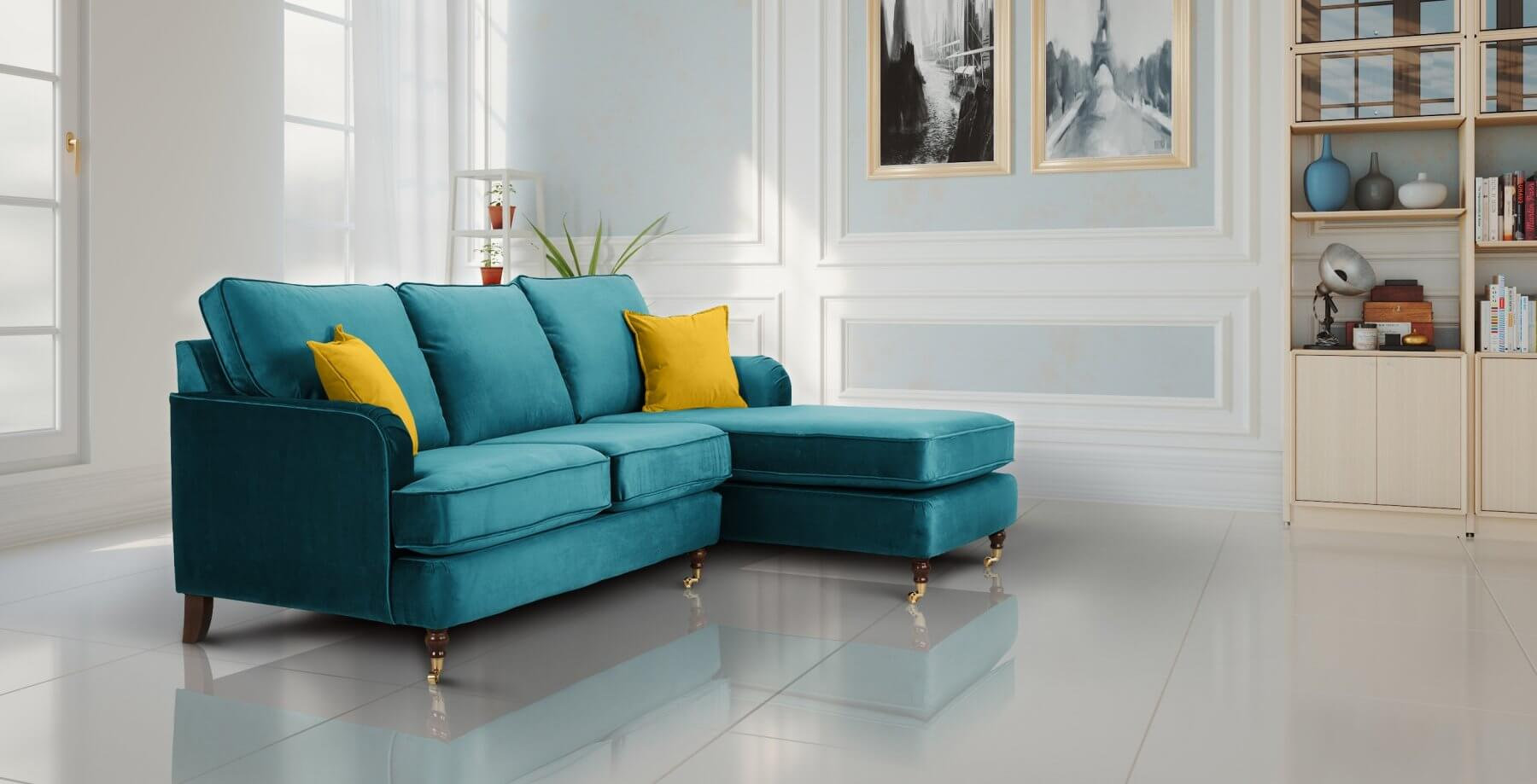 Turquoise Velvet 3 Seater With Chaise Lounge Astbury Sofa
