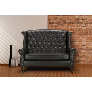 Loveseat Double Wingback Chair Sofa with Buttons Black