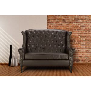 Loveseat Double Wingback Chair Sofa with Buttons Brown