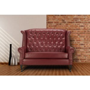 Loveseat Double Wingback Chair Sofa with Buttons Burgundy
