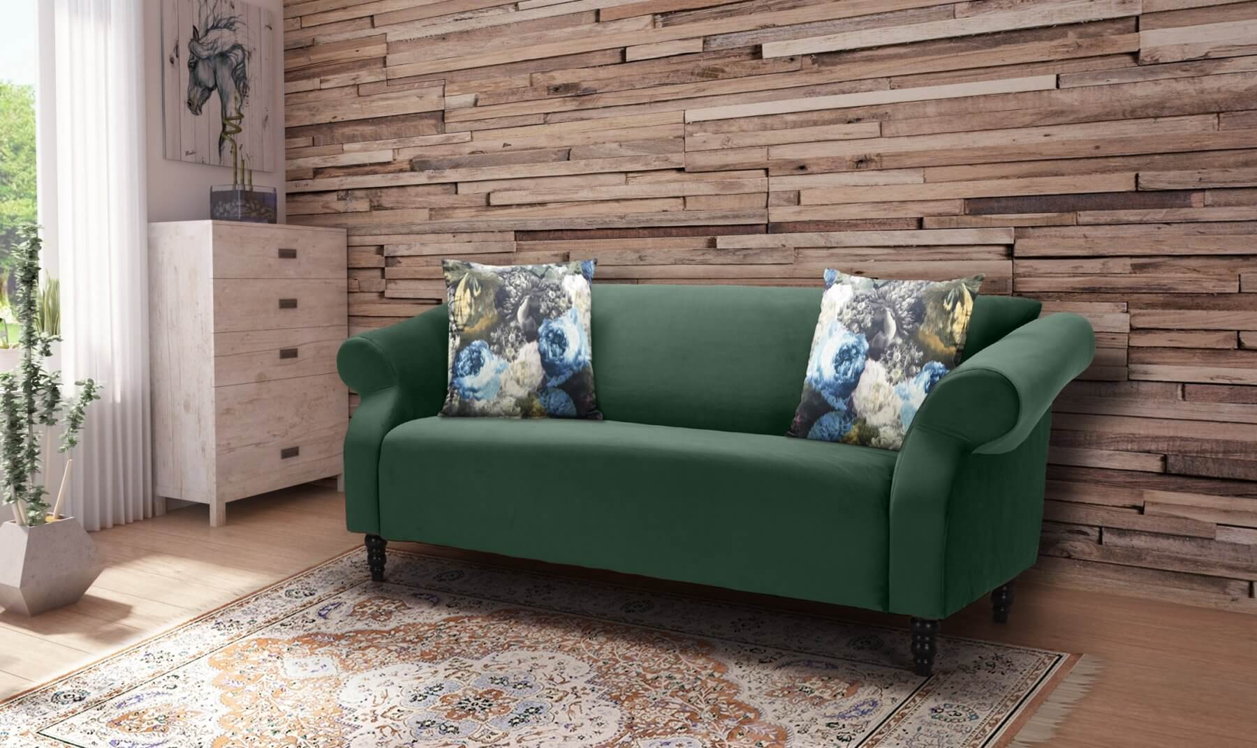 Velvet Bottle Green 3 Seater Avici Shout Sofa With Accent Cushions