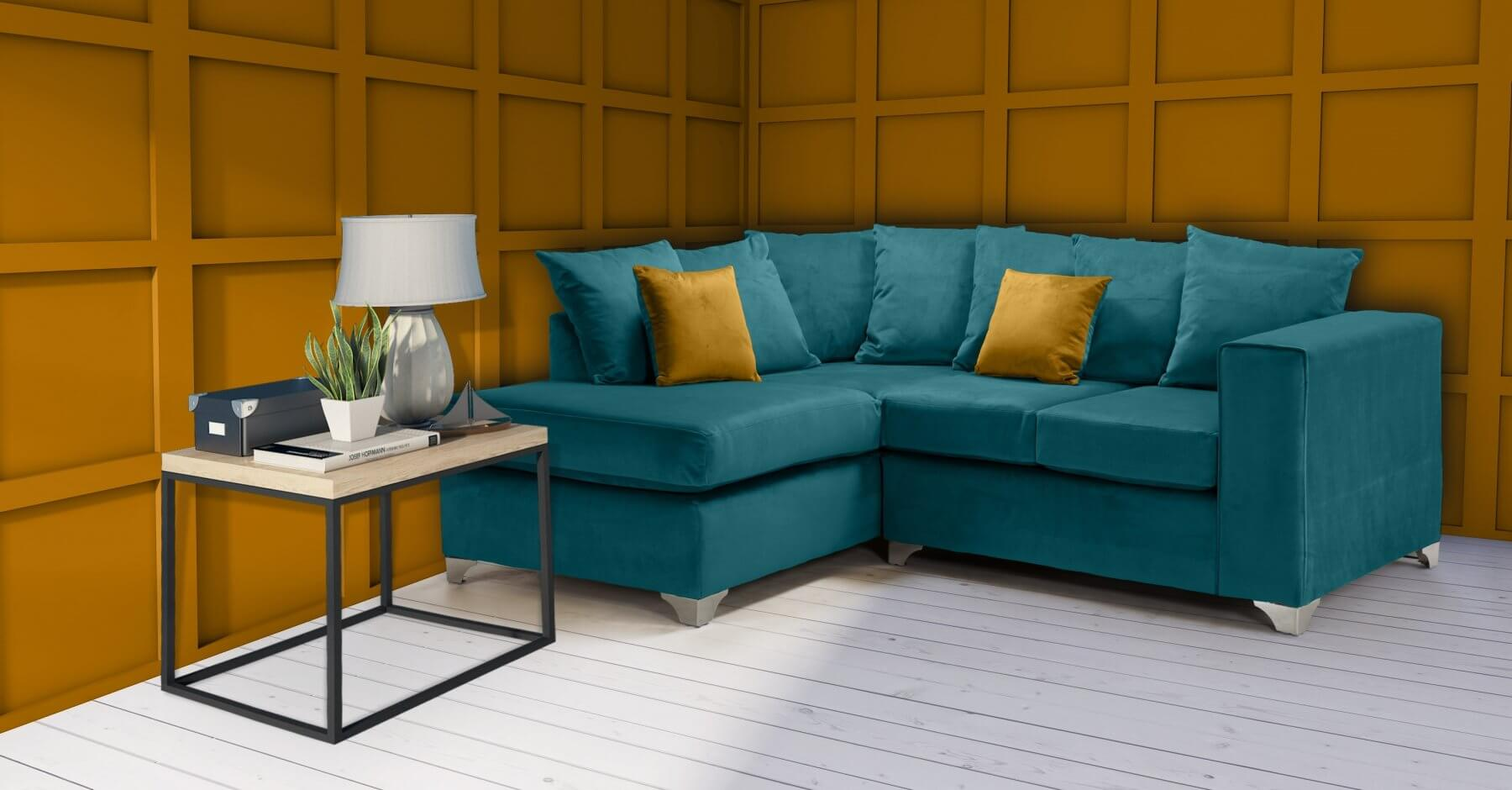 Velvet Teal / Turquoise 1c2 Enfield Corner Sofa With Scatter Cushions