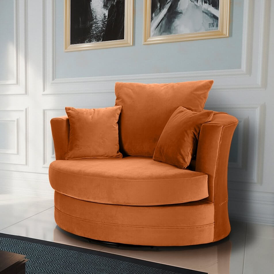 Awesome Velvet Burnt Orange Chelsea Cuddle Chair Squirreltailoven Fun Painted Chair Ideas Images Squirreltailovenorg