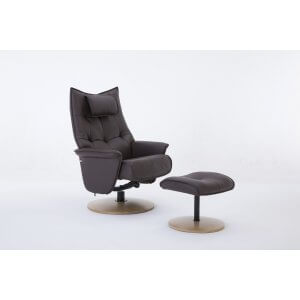 Faux Leather Brown Palmera Swivel Recliner Chair and Footstool