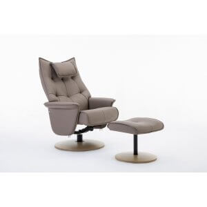 Faux Leather Light Brown Palmera Swivel Recliner Chair and Footstool
