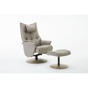 Faux Leather Beige Palmera Swivel Recliner Chair and Footstool
