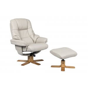 Faux Leather Cream Greenwich Swivel Recliner Chair and Footstool