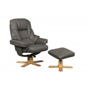 Faux Leather Charcoal Greenwich Swivel Recliner Chair and Footstool
