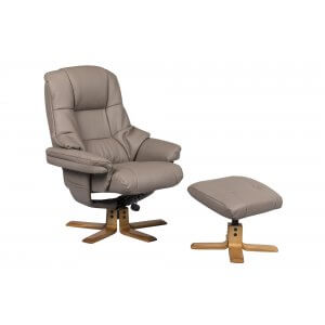 Faux Leather Light Brown Greenwich Swivel Recliner Chair and Footstool