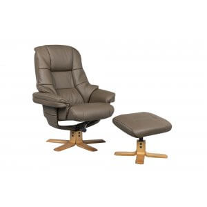 Faux Leather Brown Greenwich Swivel Recliner Chair and Footstool