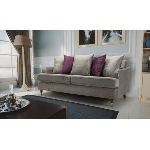 Velvet Grey 3 Seater Astbury Bella Sofa with Scatter Cushions