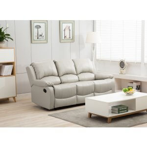 Leather Light Grey 3 Seater Vancouver Recliner Sofa