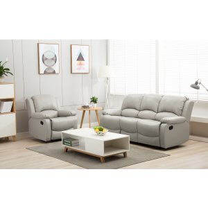 Leather Light Grey 3 + 1 Seater Vancouver Recliner Sofa Suite