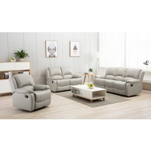 Leather Light Grey 3 + 2 + 1 Seater Vancouver Recliner Sofa Suite