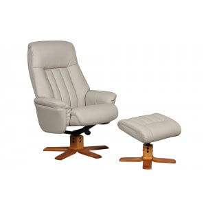 Faux Leather Beige St Tropez Swivel Recliner Chair and Footstool