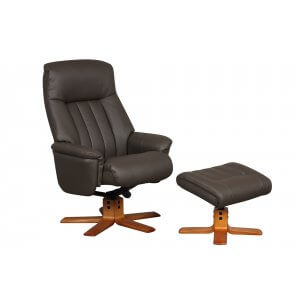 Faux Leather Charcoal St Tropez Swivel Recliner Chair and Footstool