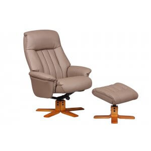 Faux Leather Light Brown St Tropez Swivel Recliner Chair and Footstool