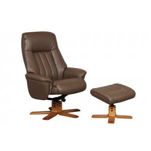 Faux Leather Brown St Tropez Swivel Recliner Chair and Footstool