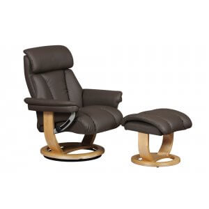 Faux Leather Charcoal Portofino Swivel Recliner Chair and Footstool