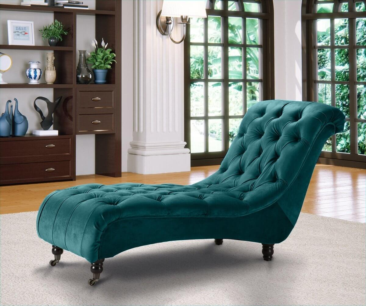 Belmont Chesterfield Velvet Fabric Chaise Lounge Teal