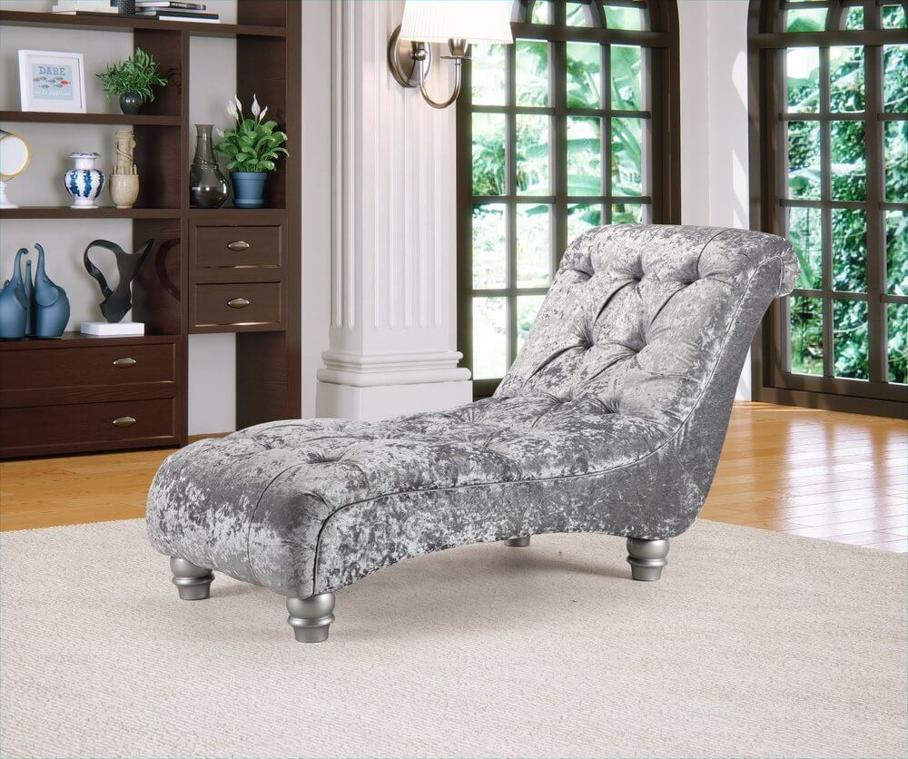 Crushed Velvet Silver Manhattan Chesterfield Chaise Lounge