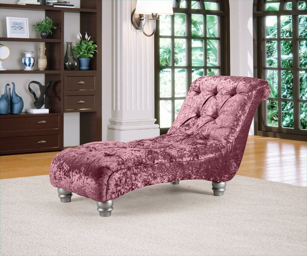 Crushed Velvet Mulberry Manhattan Chesterfield Chaise Lounge