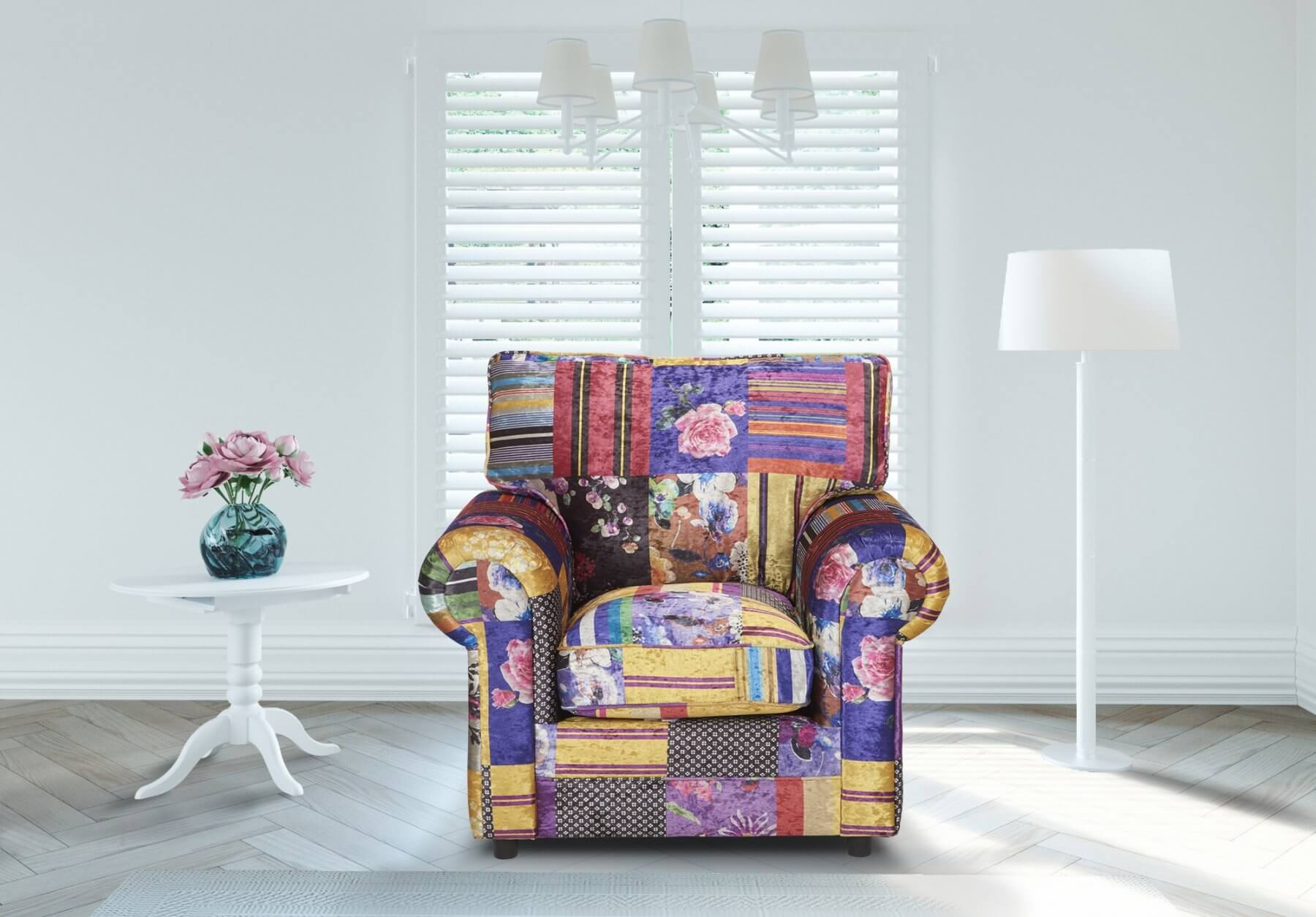 Multicoloured Patchwork Fabric Charlotte Armchair