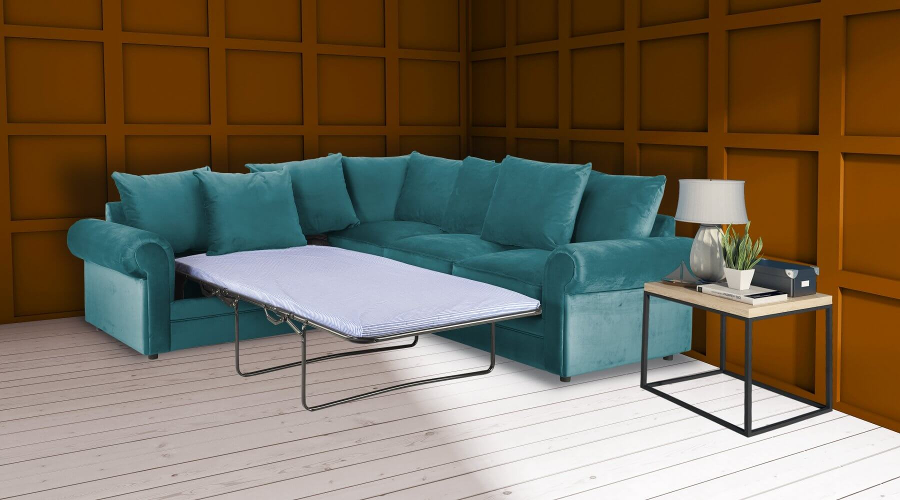 Velvet Turquoise / Teal  2c2 Corner Charlotte Sofa Bed With Scatter Cushions