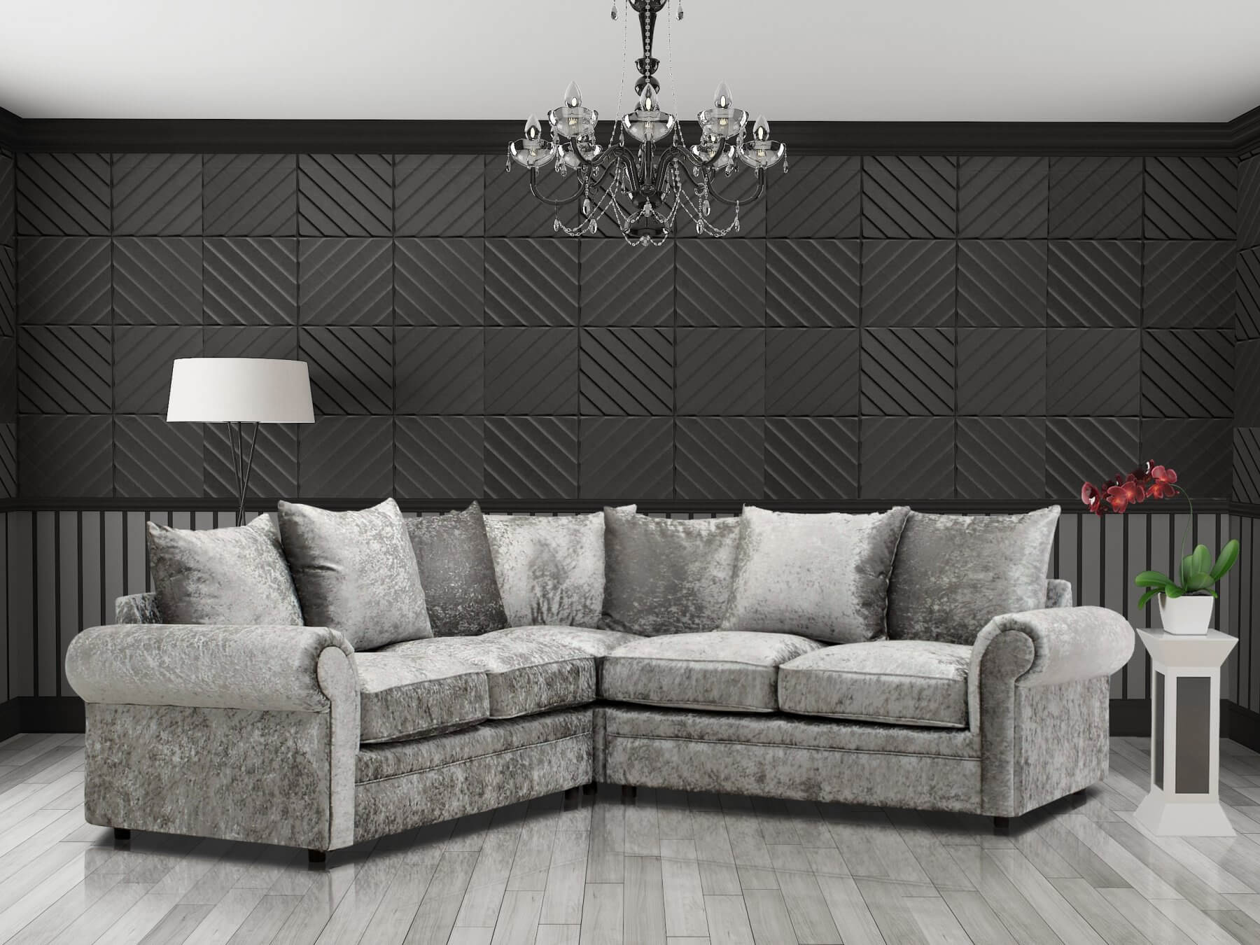 Crushed Velvet Silver 2c2 Corner Charlotte Sofa With Scatter Cushions