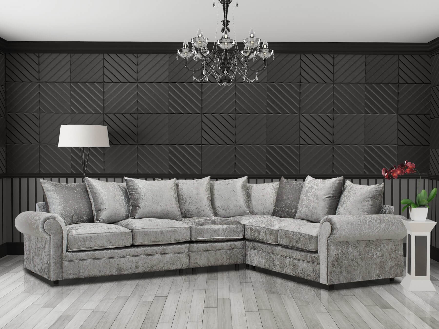 Crushed Velvet Silver 3c2 Corner Charlotte Sofa With Scatter Cushions